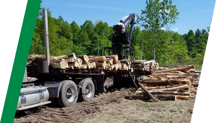 Log truck operating with TIREBOSS