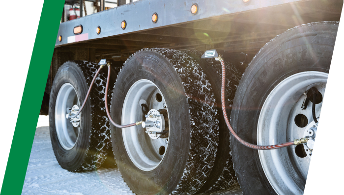 close up image of truck tires equipped with TIREBOSS hoses
